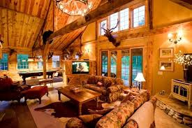 Superb Favorable Cabin Theme Living Room Montana Lodge Themed Barn Home  Traditional Living Room Other Shining Cabin