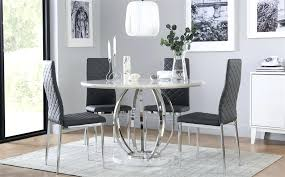 white marble effect round dining table singapore canada savoy and chrome with 4 grey kitchen winning
