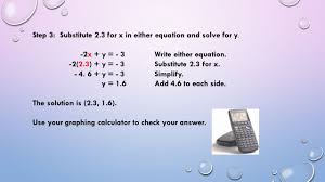 step 3 substitute 2 3 for x in either equation and solve for y