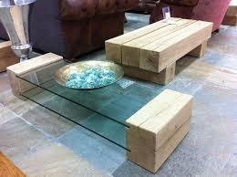 glass and oak railway sleeper table