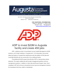 ADP to invest $20M in Augusta facility and create 450 jobs