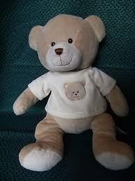 toys r us beige teddy bear soft toy cuddly plush in cream tshirt 15 approx