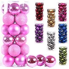 Amazon.com: 28 Count Glitter Christmas Ball Ornaments - (Pink ...