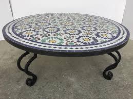 moorish moroccan mosaic round tile coffee table on iron base for