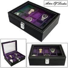 mens watch storage box aston of london® mens pu leather black purple 10 watch storage display box