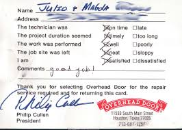 customer testimonials overhead door company of houston good job