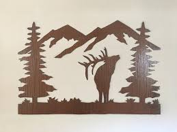 rustic elk mountain metal wall art colorado metal wall art forest elk with mountains steel hand made artwork for kitchen cabin art