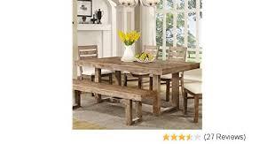 amazon coaster 105541 elmwood rustic 77 75 x 39 x 30 inch u base dining table tables