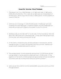 Scientific Notation Word Problems Worksheet | Homeschooldressage.com
