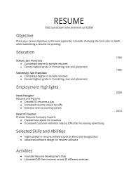 Simple Job Resume Templates Resume Templates 2017