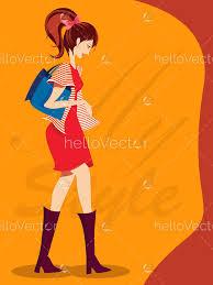 Stylish Fashion Girl Fashion Cover Page Design Vector Illustration Hello Vector