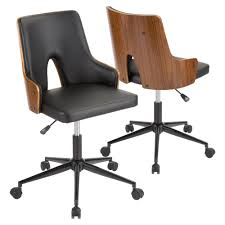 lumisource stella walnut and black faux leather office chair