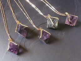 tags green crystal purple crystal point necklace