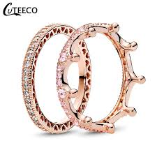 <b>CUTEECO Fashion</b> Rose Gold Magic Love Crown Zircon ...