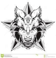черно белая татуировка головы волка с звездой иллюстрация вектора