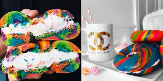 These Rainbow Bagels Made With Cake Flavored Cream Cheese Look