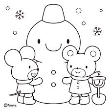 雪だるまのイラストぬりえ 子供と動物のイラスト屋さん わたなべふみ