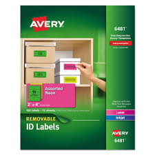 High Visibility Removable Id Labels Laser Inkjet 2 X 4 Asst Neon 120 Pack