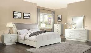 HENDRY 5 piece Modern Glossy Off White Bedroom Set w. King Gray ...