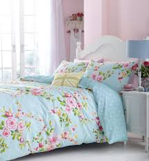 superb cotton twin pink blue rose fl reversible shabby chic comforter cover set