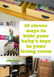 10 ways to hide baby stoys in your living room, toy storage in living room