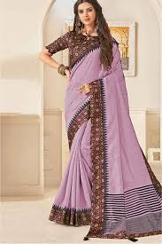 Light Purple Color Saree Jute Silk Printed Saree In Light Purple Colour
