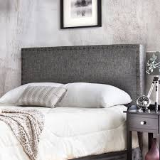 Adjustable Nailhead Trim Flax Upholstered Headboard in Gray at Overstock