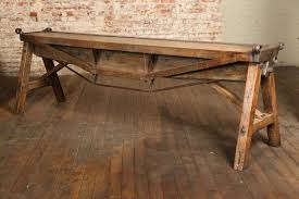 vintage and industrial furniture. American Rustic Antique Industrial Cast Iron, Steel And Wood Factory Brake Table, Stand For Vintage Furniture