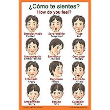 Spanish Feelings Chart Spanish Language School Poster Words About Feelings Wall Chart For Home And Classroom Bilingual Spanish And English Text