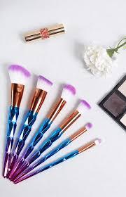 unicorn brush set. unicorn makeup 6 piece brush set e