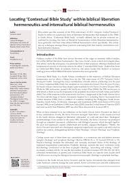 Pdf Locating Contextual Bible Study Within Biblical Liberation