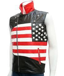 25 mens slimfit american flag motorcycle leather vest