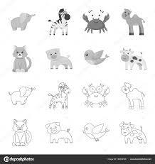 非現実的な概要設計のためのセットのコレクションで白黒の動物アイコン