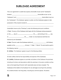 Sublease Agreement Samples Free Sublease Agreement Template Pdf Word Eforms Free
