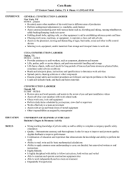Construction Laborer Resume Samples Velvet Jobs