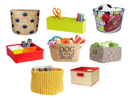 various baskets and bins for home organization