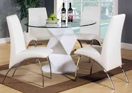 modern round white high gloss clear glass dining table 4 chairs lovable round white dining table