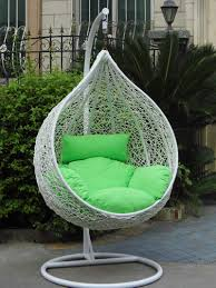 stylish brown rattan hanging chair with stand design for indoor and outdoor ideas