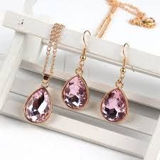 2019 rose gold water drop pendant necklace earrings fashion jewelry pink from mantous 33 95 dhgate com