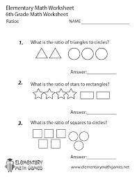 sixth grade ratios worksheet