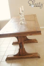 free easy diy plans to build a triple pedestal farmhouse table for 125 plans from ana white com