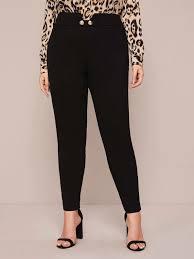 Plus Button Detail Skinny Pants
