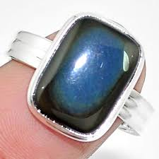 image is loading 925 sterling silver natural rainbow obsidian eye ring