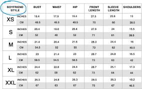 Blouse Size Chart Sizing Camixa