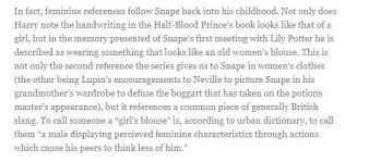 there is an internet theory that severus snape was transgender  snape heroine essay