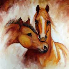 two horses head oil painting on canvas professional artist hand painted beautiful colors abstract horse painting