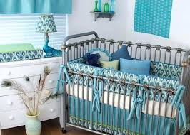 peacock crib bedding sets peacock print fabric with aqua green and navy in the custom crib