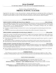 Impressive Sample Resume For Middle School Science Teacher