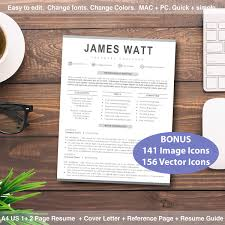 Professional Resume Template Word | Cover Letter + Reference Page + Icons +  Resume Guide
