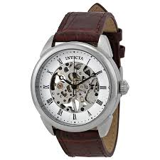 invicta specialty mechanical white skeleton dial light brown invicta specialty mechanical white skeleton dial light brown leather men s watch 17185